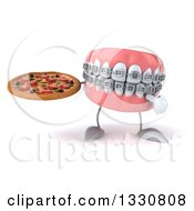 Clipart Of A 3d Metal Mouth Teeth Mascot With Braces Holding And Pointing To A Pizza Royalty Free Illustration