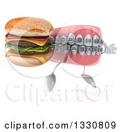 Clipart Of A 3d Metal Mouth Teeth Mascot With Braces Facing Slightly Right Jumping And Holding A Double Cheeseburger Royalty Free Illustration