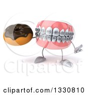 Clipart Of A 3d Metal Mouth Teeth Mascot With Braces Shrugging And Holding A Chocolate Glazed Donut Royalty Free Illustration by Julos
