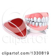 Clipart Of A 3d Mouth Teeth Character Holding Up A Beef Steak Royalty Free Illustration