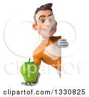 Clipart Of A 3d Young Brunette White Male Super Hero In An Orange Suit Holding A Green Bell Pepper Around A Sign Royalty Free Illustration