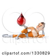 Clipart Of A 3d Young Brunette White Male Super Hero In An Orange Suit Resting On His Side And Holding A Blood Drop Royalty Free Illustration