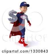 Clipart Of A 3d Young White Male Super Hero Mechanic In Red And Dark Blue Walking Slightly To The Right And Holding A Dollar Symbol Royalty Free Illustration