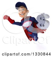 Clipart Of A 3d Young White Male Super Hero Mechanic In Red And Dark Blue Flying Holding A Dollar Symbol 2 Royalty Free Illustration