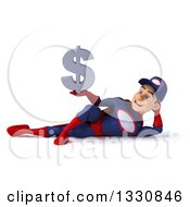 Clipart Of A 3d Young White Male Super Hero Mechanic In Red And Dark Blue Resting On His Side And Holding A Dollar Symbol Royalty Free Illustration