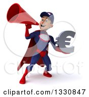 Clipart Of A 3d Young White Male Super Hero Mechanic In Red And Dark Blue Holding A Euro Symbol And Using A Megaphone Royalty Free Illustration