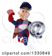 Clipart Of A 3d Young White Male Super Hero Mechanic In Red And Dark Blue Flying Holding An Email Arobase At Symbol Royalty Free Illustration