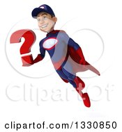 Clipart Of A 3d Young White Male Super Hero Mechanic In Red And Dark Blue Flying Holding A Question Mark Royalty Free Illustration