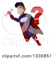 Clipart Of A 3d Young White Male Super Hero Mechanic In Red And Dark Blue Flying Holding A Question Mark And Wrench Royalty Free Illustration