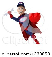 Clipart Of A 3d Young White Male Super Hero Mechanic In Red And Dark Blue Flying With A Wrench And Heart Royalty Free Illustration