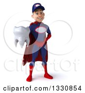 Clipart Of A 3d Young White Male Super Hero Mechanic In Red And Dark Blue Holding A Tooth Royalty Free Illustration