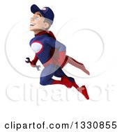 Clipart Of A 3d Young White Male Super Hero Mechanic In Red And Dark Blue Flying Up To The Left And Holding A Wrench Royalty Free Illustration