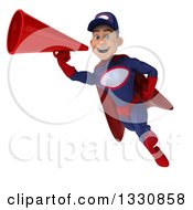 Clipart Of A 3d Young White Male Super Hero Mechanic In Red And Dark Blue Flying And Announcing With A Megaphone Royalty Free Illustration