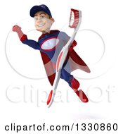 Clipart Of A 3d Young White Male Super Hero Mechanic In Red And Dark Blue Flying With A Toothbrush Royalty Free Illustration