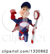 Clipart Of A 3d Young White Male Super Hero Mechanic In Red And Dark Blue Flying With A Toothbrush 3 Royalty Free Illustration