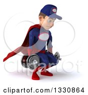 Clipart Of A 3d Young White Male Super Hero Mechanic In Red And Dark Blue Working Out Facing Slightly Right Doing Squats With Dumbbells Royalty Free Illustration