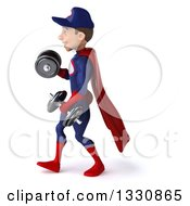Clipart Of A 3d Young White Male Super Hero Mechanic In Red And Dark Blue Working Out Walking To The Left Doing Bicep Curls With Dumbbells Royalty Free Illustration