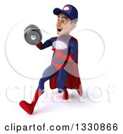 Clipart Of A 3d Young White Male Super Hero Mechanic In Red And Dark Blue Working Out Speed Walking Slightly To The Left Doing Bicep Curls With A Dumbbell Royalty Free Illustration