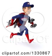 Clipart Of A 3d Young White Male Super Hero Mechanic In Red And Dark Blue Working Out Sprinting To The Right With Dumbbells Royalty Free Illustration