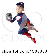Clipart Of A 3d Young White Male Super Hero Mechanic In Red And Dark Blue Working Out Flying Doing Bicep Curls With Dumbbells Royalty Free Illustration