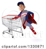 Clipart Of A 3d Young White Male Super Hero Mechanic In Red And Dark Blue Flying With A Shopping Cart 2 Royalty Free Illustration