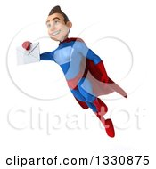 Clipart Of A 3d Young Brunette White Male Super Hero In A Blue And Red Suit Flying With An Envelope Royalty Free Illustration