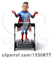 Clipart Of A 3d Young Brunette White Male Super Hero In A Blue And Red Suit Meditating And Walking On A Treadmill Royalty Free Illustration
