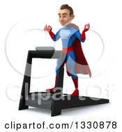 Clipart Of A 3d Young Brunette White Male Super Hero In A Blue And Red Suit Facing Left Meditating And Walking On A Treadmill Royalty Free Illustration