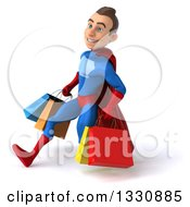 3d Young Brunette White Male Super Hero In A Blue And Red Suit Speed Walking To The Left With Shopping Bags