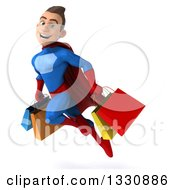 3d Young Brunette White Male Super Hero In A Blue And Red Suit Flying With Shopping Bags