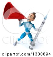 Clipart Of A 3d Young White Male Super Hero In A Light Blue Suit Holding A Vaccine Syringe And Announcing Up To The Left With A Megaphone Royalty Free Illustration