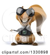 Clipart Of A 3d Business Squirrel Wearing Sunglasses Presenting And Holding A Camera Royalty Free Illustration