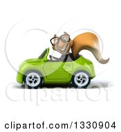 Clipart Of A 3d Bespectacled Business Squirrel Driving A Green Car Royalty Free Illustration