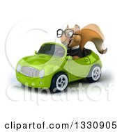Clipart Of A 3d Bespectacled Business Squirrel Driving A Green Car 2 Royalty Free Illustration