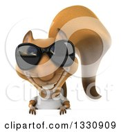Clipart Of A 3d Casual Squirrel Wearing A White T Shirt And Sunglasses Smiling Over A Sign Royalty Free Illustration by Julos