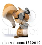 Clipart Of A 3d Full Length Casual Squirrel Wearing A White T Shirt And Sunglasses Pointing Around A Sign Royalty Free Illustration by Julos