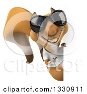 Clipart Of A 3d Casual Squirrel Wearing A White T Shirt And Sunglasses Pointing Around A Sign Royalty Free Illustration by Julos