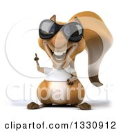 Clipart Of A 3d Casual Squirrel Wearing A White T Shirt And Sunglasses Holding Up A Finger Royalty Free Illustration by Julos