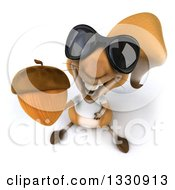 Clipart Of A 3d Casual Squirrel Wearing A White T Shirt And Sunglasses Holding Up An Acorn Royalty Free Illustration by Julos
