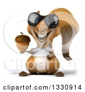 Clipart Of A 3d Casual Squirrel Wearing A White T Shirt And Sunglasses Holding An Acorn Royalty Free Illustration by Julos