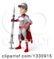 Clipart Of A 3d Young White Male Super Hero Mechanic In Gray And Red Facing Slightly Left And Holding A Giant Vaccine Syringe Royalty Free Illustration