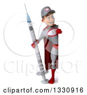 Clipart Of A 3d Full Length Young White Male Super Hero Mechanic In Gray And Red Holding A Giant Vaccine Syringe And Looking Around A Sign Royalty Free Illustration