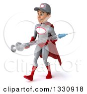 Clipart Of A 3d Young White Male Super Hero Mechanic In Gray And Red Walking Slightly Left And Holding A Giant Vaccine Syringe Royalty Free Illustration