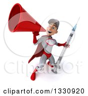 Clipart Of A 3d Young White Male Super Hero Mechanic In Gray And Red Holding A Giant Vaccine Syringe And Announcing Upwards With A Megaphone Royalty Free Illustration