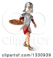 Clipart Of A 3d Young Male Roman Legionary Soldier Walking To The Right With A Pizza Royalty Free Illustration