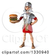Clipart Of A 3d Young Male Roman Legionary Soldier Holding A Double Cheeseburger Royalty Free Illustration