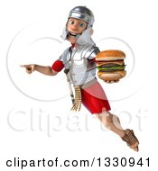 Clipart Of A 3d Young Male Roman Legionary Soldier Flying Pointing And Holding A Double Cheeseburger Royalty Free Illustration