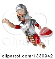Clipart Of A 3d Young Male Roman Legionary Soldier Flying With A Beef Steak Royalty Free Illustration