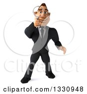 Clipart Of A 3d Macho White Businessman Searching With A Magnifying Glass Royalty Free Illustration by Julos