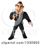 Clipart Of A 3d Macho White Businessman Searching With A Magnifying Glass Looking Down Royalty Free Illustration by Julos